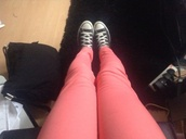 jeans,neon,pink,converse,high top converse