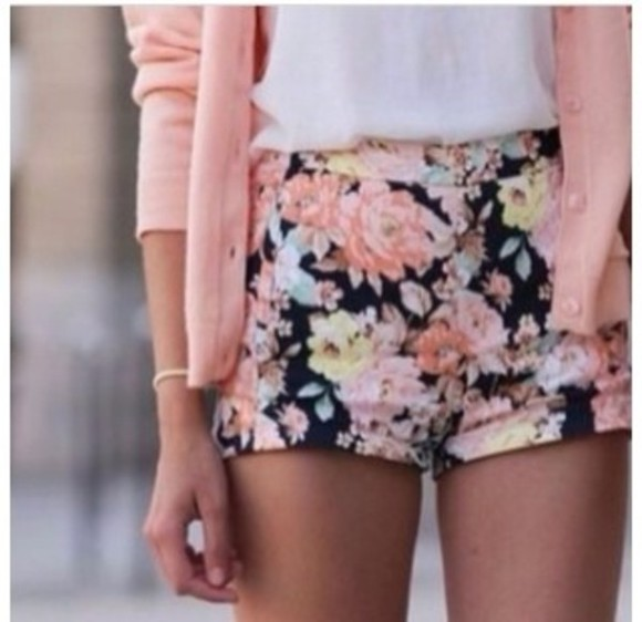 shorts green blue flower print flowers pink flowered shorts black flowered flower pattern floral floral shorts high waisted short