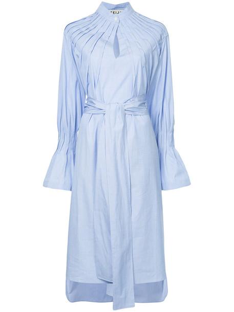 TEIJA dress shirt dress women cotton blue