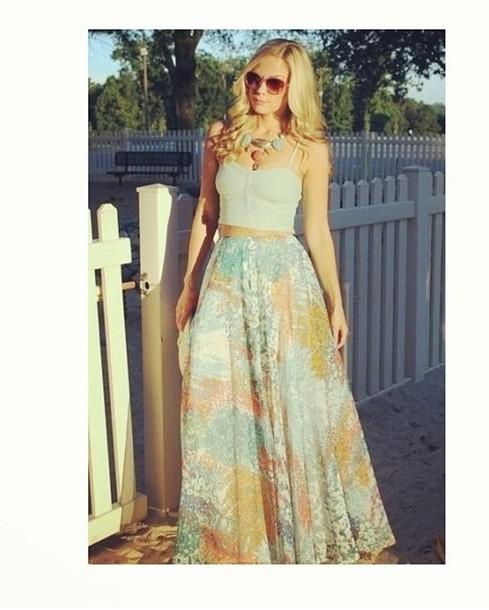 skirt maxi skirt crop tops