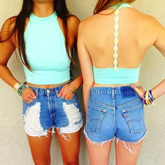 shorts tank top tumblr hipster retro racerback halter neck mint tiffany blue daisy floral crop tops