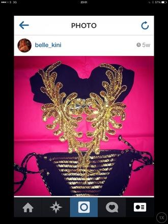 swimwear gold gold sequins gold bikini