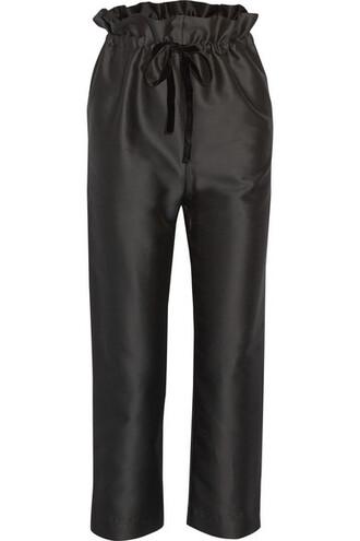 pants cropped cotton black silk