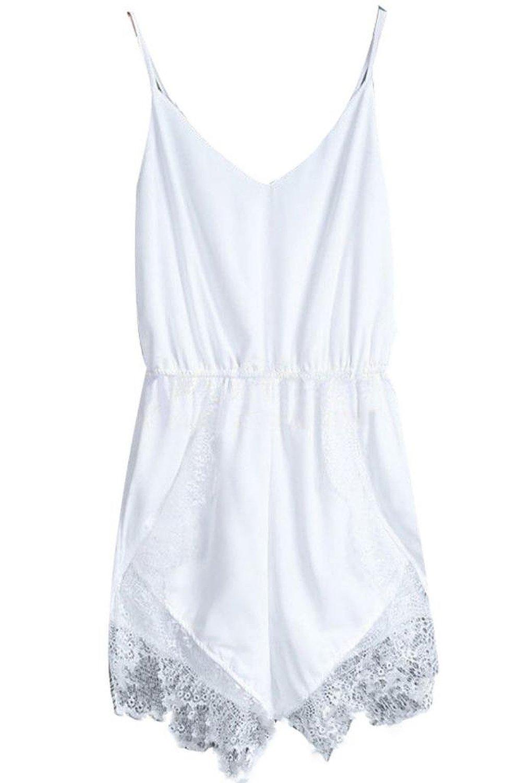17122b0b7a25 Amazon.com  Women Lace Chiffon Sleeveless Jumpsuit Rompers ...
