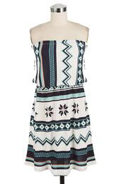 dress,betsy boo's boutique,strapless,mini dress,mint,tribal pattern,tribal print dress,aztec