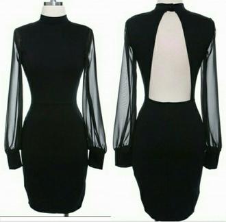 backless dress bodycon dress sheer sleeves turtleneck dress blackdress sheer sleeve dress
