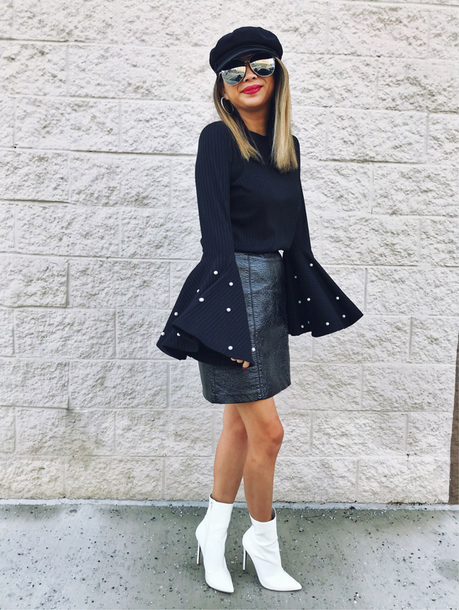 redsolesandredwine blogger top hat sunglasses skirt shoes coat tights fisherman cap bell sleeves ankle boots white boots