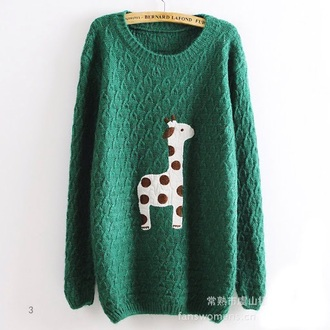 hipster giraffe girly oversized sweater