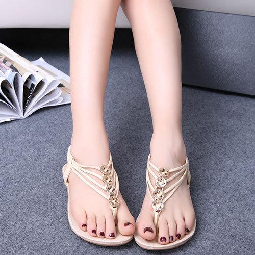 Shego shopping mall — [grzxy61900337]elastic ankle strap hardware embellished flat thong sandal