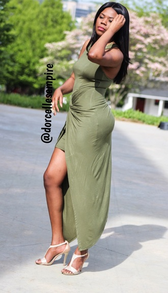 dress olive green fashion high-low dresses
