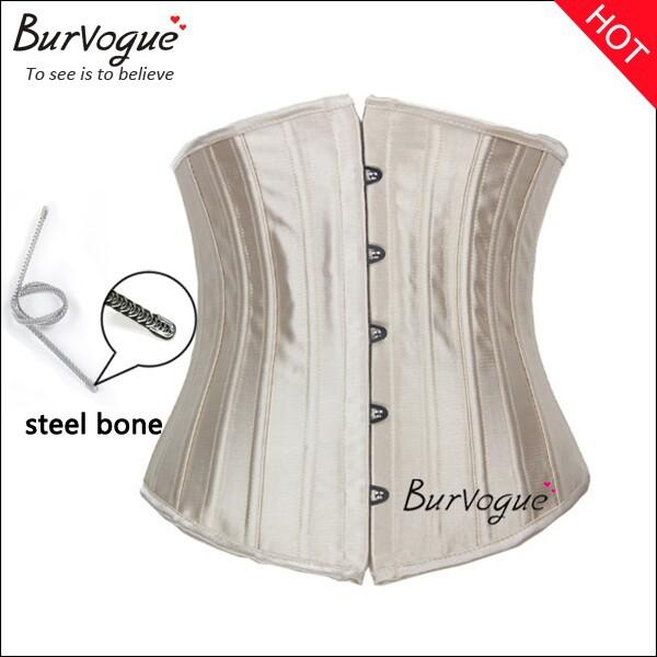 2015 body shaper woman sexy waist training underbust corsets & bustiers black satin 24 steel bone corset waist cincher corselet