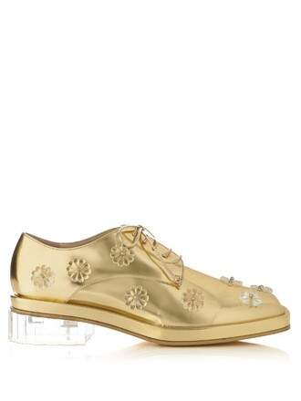 heel shoes lace-up shoes lace leather gold
