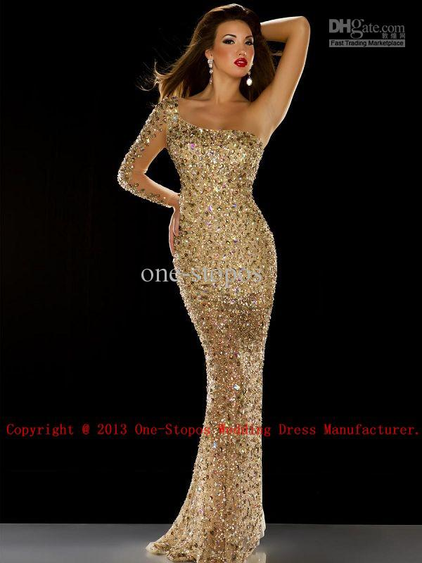 Discount crystal long sleeves tulle mermaid evening dress 91042 online with $232.34/piece