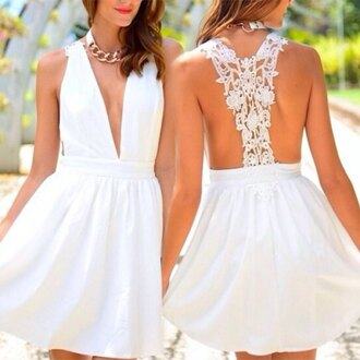dress white rose wholesale boho dress lace dress fashion style backless cute deep v sexy dress preppy bohemian girly wishlist summer cute outfits
