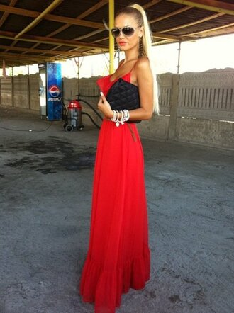 dress red red dress maxi maxi dress blonde hair red maxi dress beautiful beautiful red dress