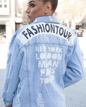 jacket,denim,denim jacket,ripped,distressed jacket,distressed denim jacket,light blue,light blue jacket,light washed denim