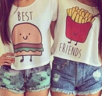 t-shirt bff food hamburger frites