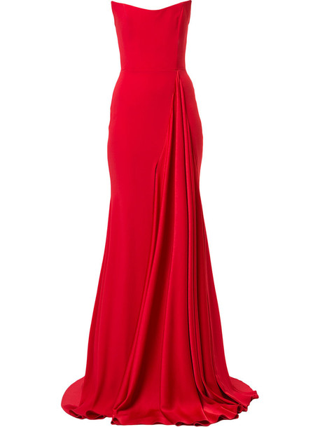 Alex Perry gown strapless women draped red dress