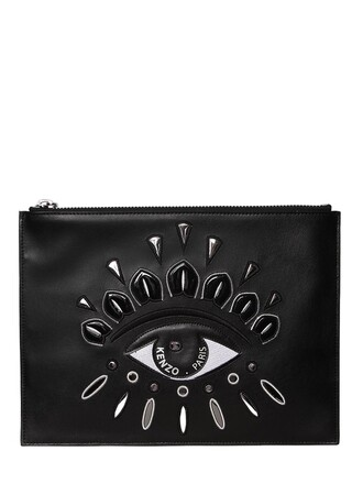 embroidered pouch leather black bag