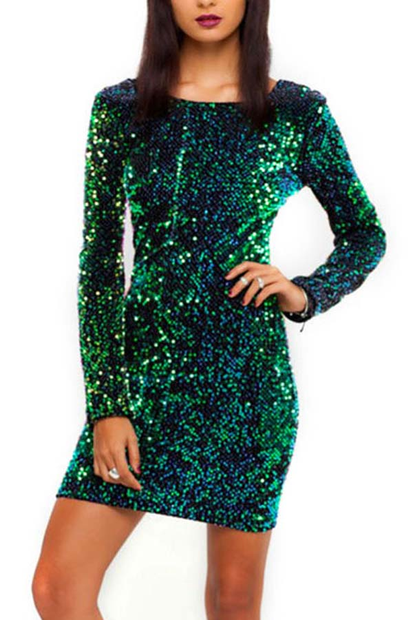 Green v back sequin long sleeve sexy bodycon dress
