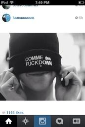 hat,black,beanie,black beanie,white words,comme des fuckdown
