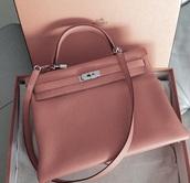 bag,pink,pastel,handbag,hermes,silver
