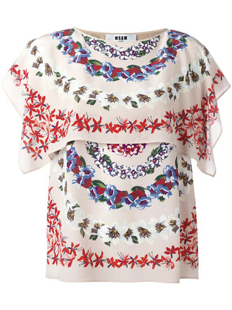 blouse cape women floral nude print silk top
