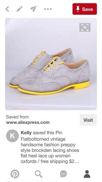shoes brogue shoes oxfords grey shoes flats