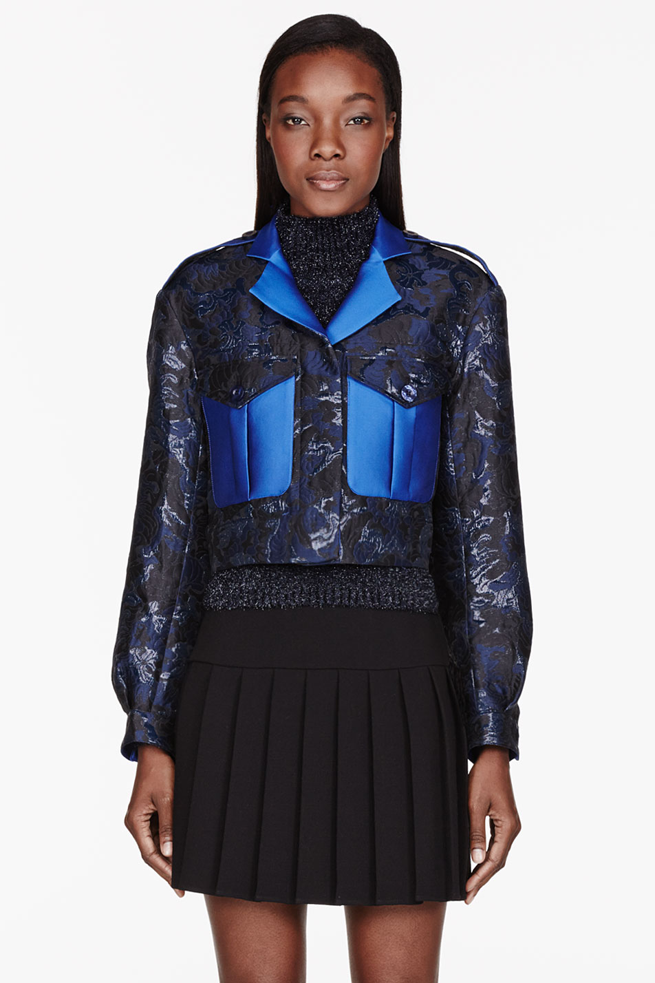 ostwald helgason navy and royal blue jacquard cropped jacket