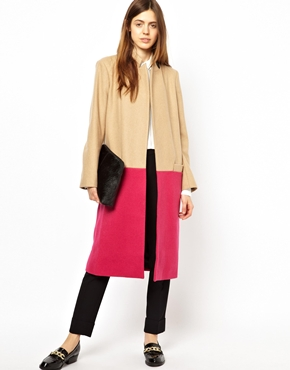 ASOS | ASOS Longline Coat in Bright Color Block at ASOS