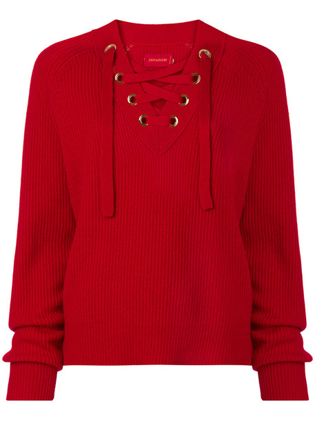 jumper women wool red sweater