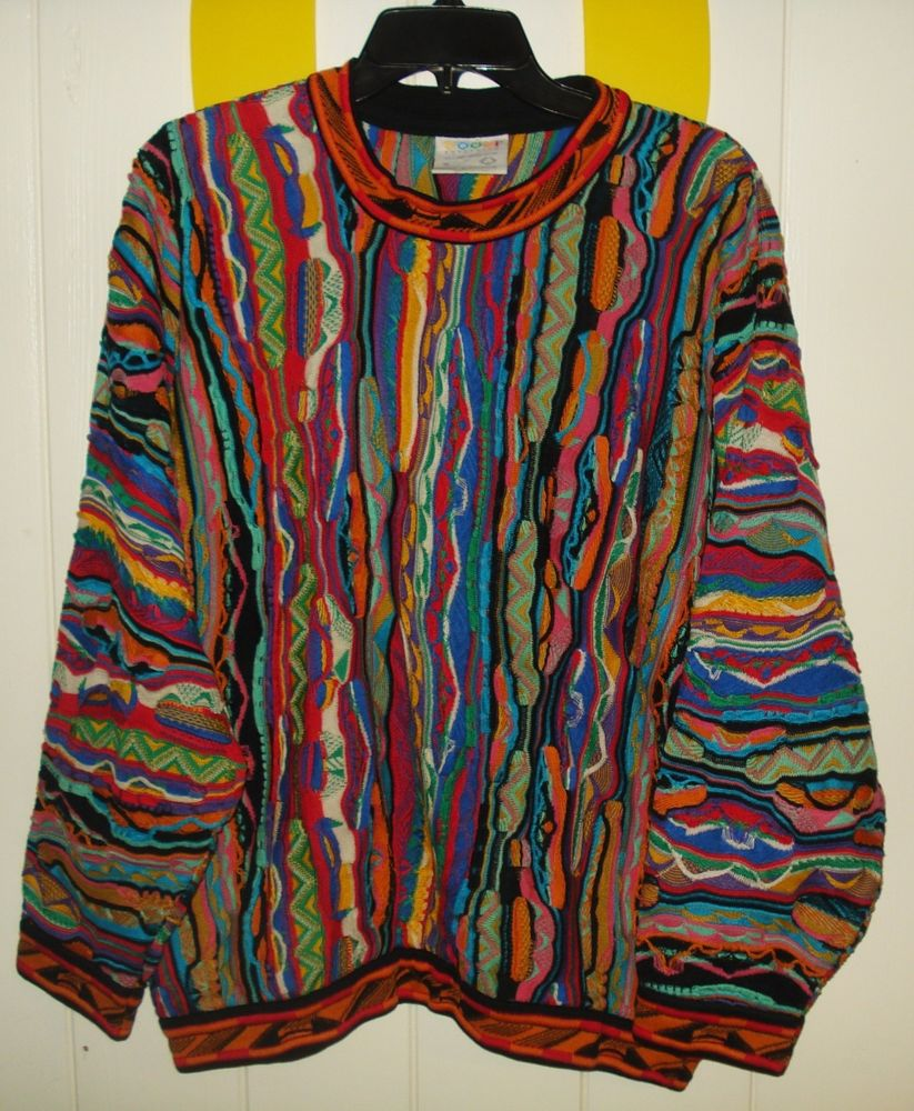 Euc mens m vintage coogi australia mercerised cotton colorful sweater cosby ugly