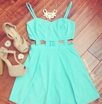 dress shoes blue dress cut-out dress teal dress tiffany blue summer dress mini dress mint cut-out spring girly cute adorable af spaghetti strap