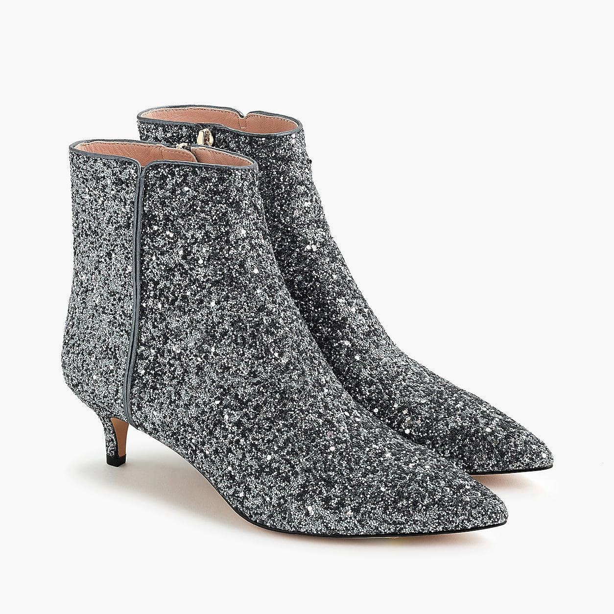 Fiona Kitten Heel Boots In Glitter
