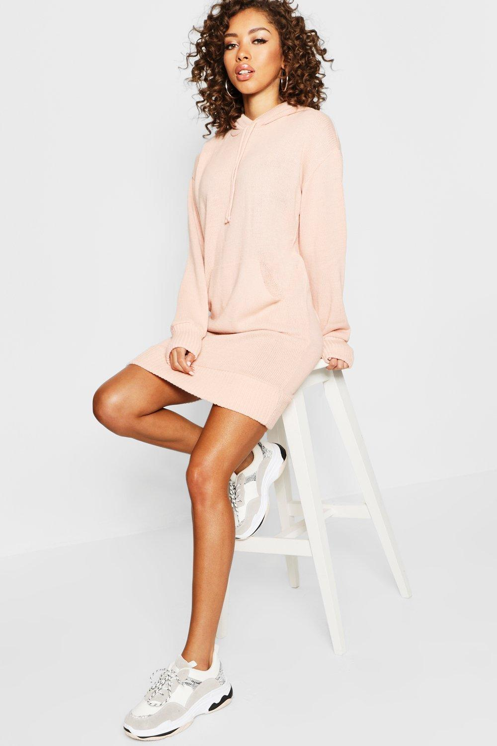 Hooded Oversized Knitted Dress | Boohoo