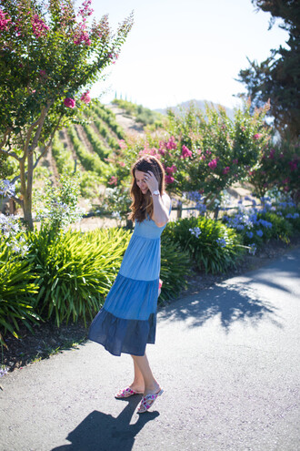 dress tumblr blue dress midi dress sandals slide shoes mules summer dress summer outfits vacation outfits shoes