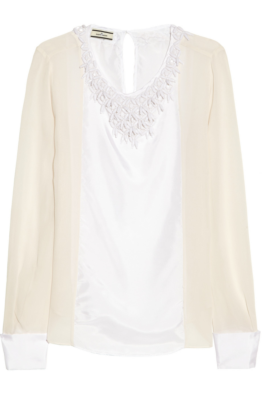 Cenila beaded silk-satin and chiffon blouse | THE OUTNET