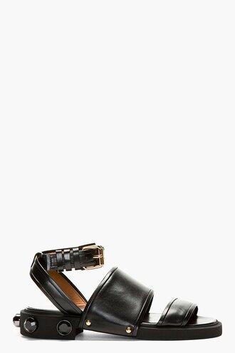 stud jewels leather women black sandals nappa