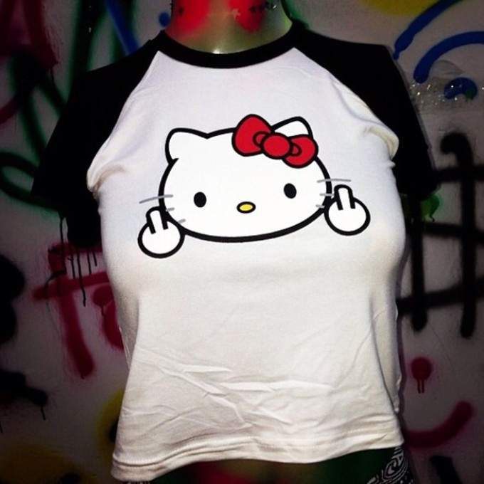 t-shirt middle finger hello kitty monochrome baseball tee short sleeve the middle