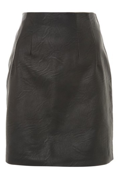 Topshop skirt leather skirt leather black