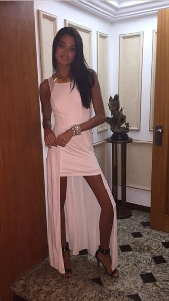 high-low dresses pink pink dress high low dress party dress formal dress formal classy dress cute dress celebrity celebrity style skirt jewelry necklace shirt accessories maxi dress dress nude dress maxi skirt style