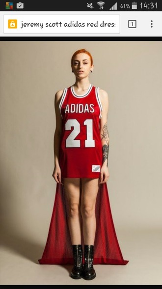 dress adidas jeremy scott red dress adidas red jersey dress number ebay