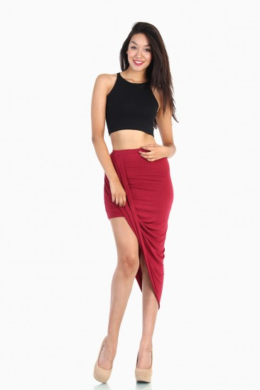 LoveMelrose.com From Harry & Molly | Overlapped Draped Skirt - Red