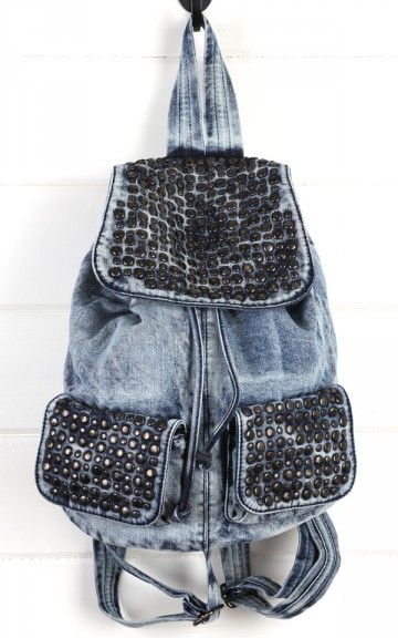 Light Blue Studded Denim Backpack and shop Handbags at MakeMeChic.com