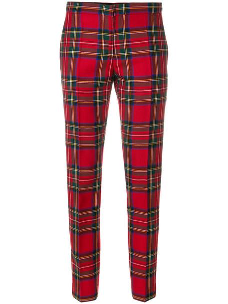 Burberry women spandex wool tartan red pants