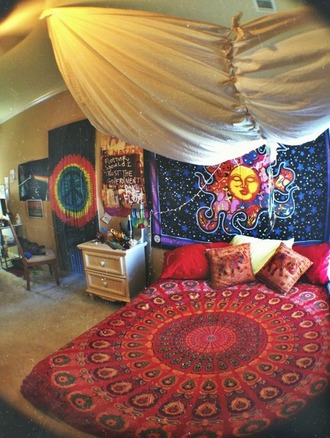 jewels hippie colorful bedding trippy home decor bag duvet cover boho bohobaja 90s style pants top hipster rug