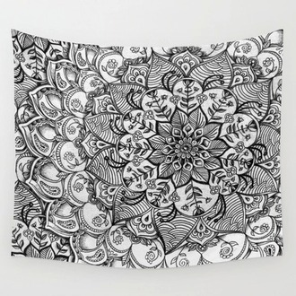 home accessory tapestry black and white mandala hipster boho