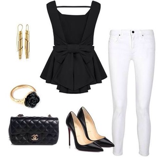 shirt black beautiful bow top