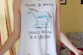 shirt unicorn white muscle tanke tank top