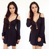 dress,belle xo,black,long sleeves,short,cut-out,caged,off the shoulder,loose,comfy,fall outfits,winter outfits,summer,spring,style,fashion,cute